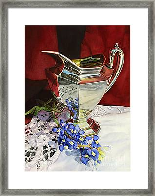 Silver Pitcher And Bluebonnet Framed Print by Hailey E Herrera