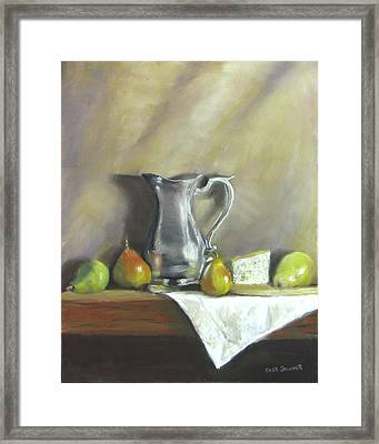 Silver Pitcher With Pears Framed Print by Jack Skinner