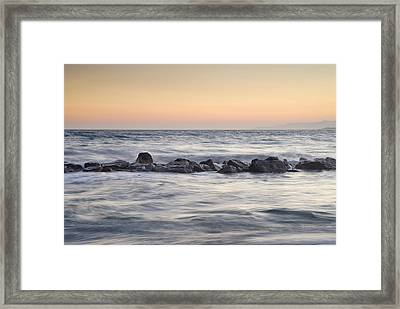 Silver Sea At Sunset Framed Print by Guido Montanes Castillo