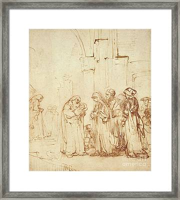 Simeon And Jesus In The Temple Framed Print by Rembrandt Harmenszoon van Rijn