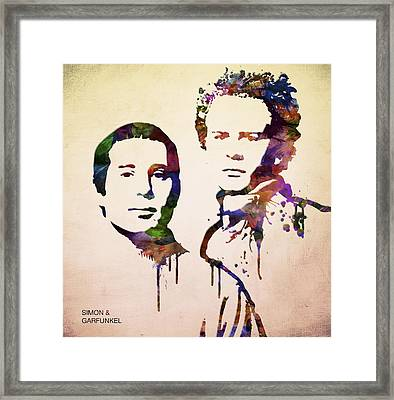 Simon And Garfunkel Framed Print by Aged Pixel