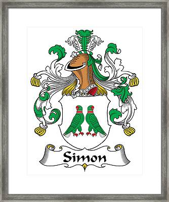 Simon Coat Of Arms German Framed Print by Heraldry