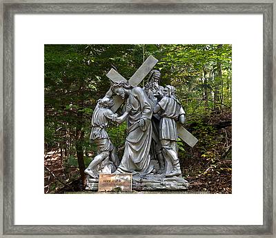 Simon Helps Jesus Framed Print by Terry Reynoldson