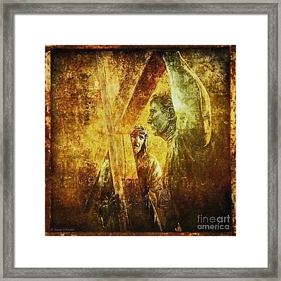 Simon Helps Jesus Via Dolorosa 5 Framed Print by Lianne Schneider