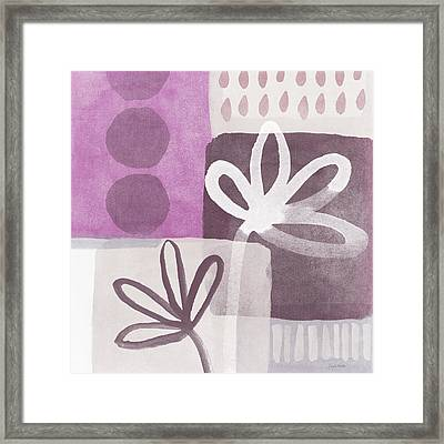 Simple Flowers- Contemporary Painting Framed Print by Linda Woods