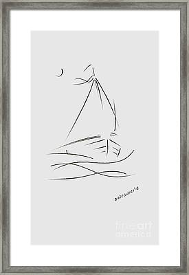 Simple Sailboat Drawing Framed Print by Mario Perez