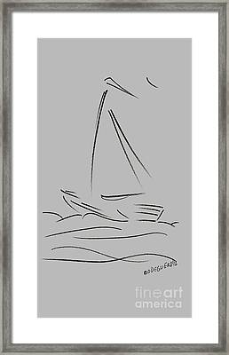 Simple Sailing Boat Drawings Framed Print by Mario Perez