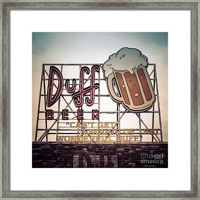 Simpsons Duff Beer Neon Sign Framed Print by Edward Fielding