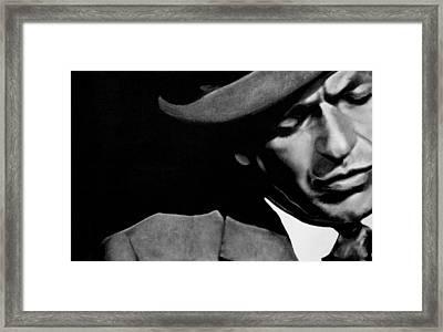 Sinatra B/w Framed Print by Leon Jimenez