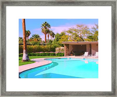 Sinatra Pool Cabana Palm Springs Framed Print by William Dey