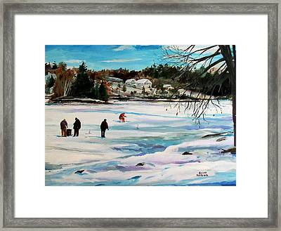 Singeltary Lake Ice Fishing Framed Print by Scott Nelson