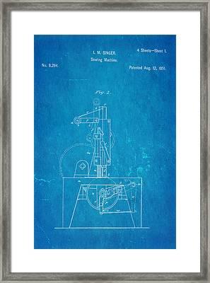 Singer Sewing Machine Patent Art 1851 Blueprint Framed Print by Ian Monk