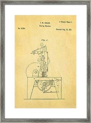 Singer Sewing Machine Patent Art 1851  Framed Print by Ian Monk