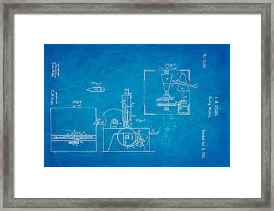 Singer Sewing Machine Patent Art 1855 Blueprint Framed Print by Ian Monk