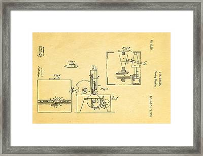 Singer Sewing Machine Patent Art 1855 Framed Print by Ian Monk