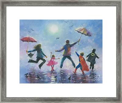 Singing In The Rain Super Hero Kids Framed Print by Vickie Wade