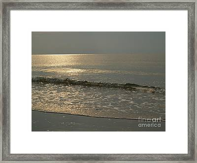 Single Breaker At Dawn On Hunting Island  Framed Print by Anna Lisa Yoder