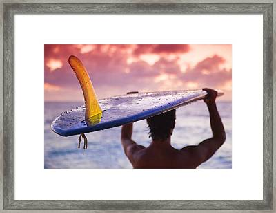 Single Fin Surfer Framed Print by Sean Davey