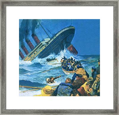 Sinking Of The Titanic Framed Print by English School