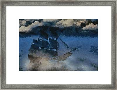 Sinking Sailer Framed Print by Ayse Deniz