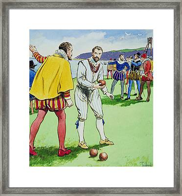 Sir Francis Drake Playing Bowls Framed Print by Trelleek
