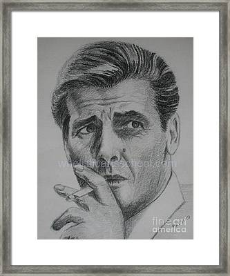 Sir Roger Moore 007 Framed Print by PainterArtist FINs husband MAESTRO