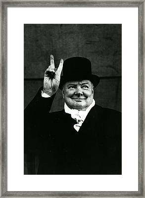 Sir Winston Churchill Peace Sign Framed Print by Retro Images Archive