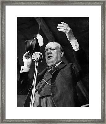 Sir Winston Churchill Public Speaker Framed Print by Retro Images Archive