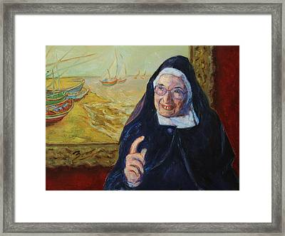 Christs Birthday Framed Print featuring the painting Sister Wendy by Xueling Zou