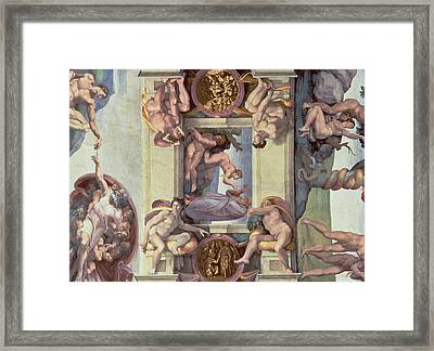 Sistine Chapel Ceiling 1508-12 The Creation Of Eve, 1510 Fresco Post Restoration Framed Print by Michelangelo Buonarroti