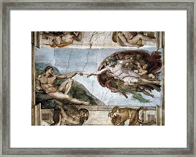 Sistine Chapel. The Creation Of Adam Framed Print by Everett