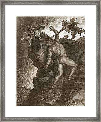 Sisyphus Pushing His Stone Framed Print by Bernard Picart