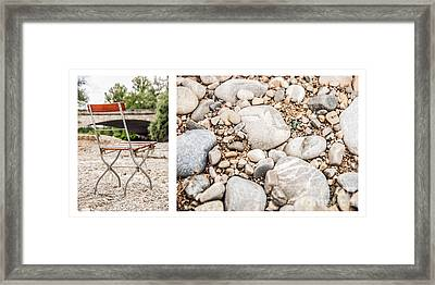 Sit Down... Stones White Framed Print by Hannes Cmarits