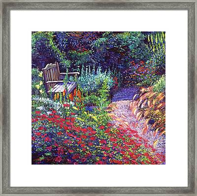 Sitting Amoung The Flowers Framed Print by David Lloyd Glover