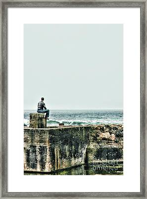 Sitting At The Edge Of The Pacific Coastline Framed Print by HD Connelly