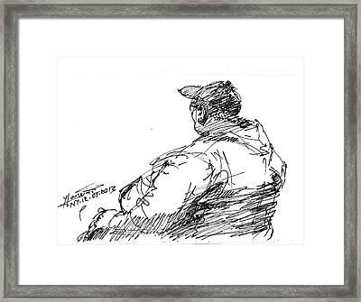 Sitting Man Framed Print by Ylli Haruni