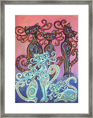 Six Cats Framed Print by Cherie Sexsmith