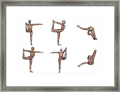 Six Different Views Of Dancer Yoga Pose Framed Print by Elena Duvernay