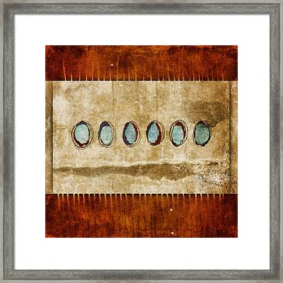 Six Turquoise Moons Framed Print by Carol Leigh