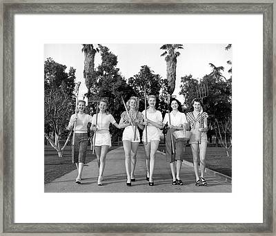 Six Women Going Gardening Framed Print by Underwood Archives