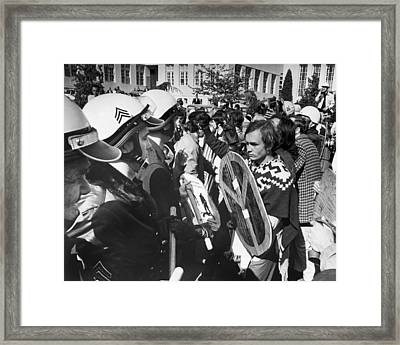 Sixties Protest Face Off Framed Print by Underwood Archives