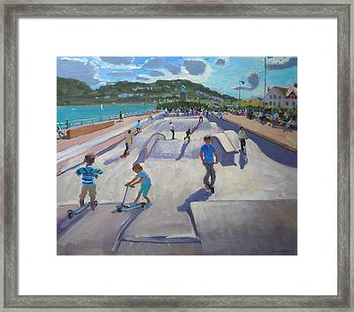 Skateboaders  Teignmouth Framed Print by Andrew Macara