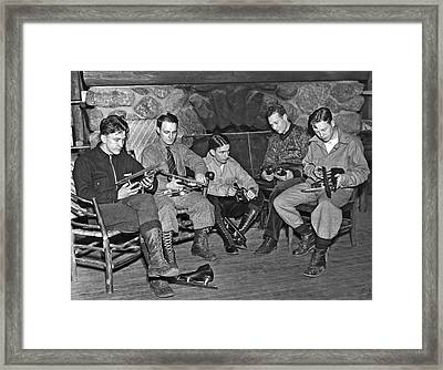 Skaters Prepare For Olympics Framed Print by Underwood Archives
