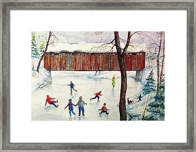 Skating At The Bridge Framed Print by Philip Lee