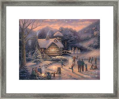 Skating By Twilight Framed Print by Chuck Pinson