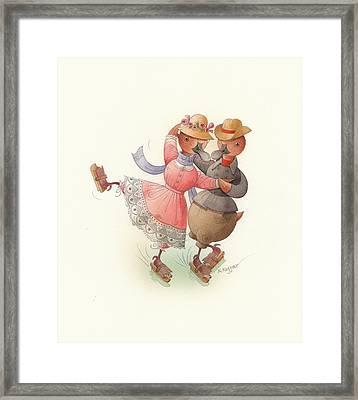 Skating Ducks 11 Framed Print by Kestutis Kasparavicius