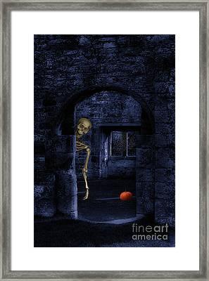 Skeleton At Halloween Framed Print by Amanda Elwell