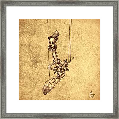 Skeleton On Cycle Framed Print by Autogiro Illustration