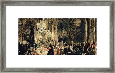 Sketch For The Flute Concert Framed Print by Adolph Friedrich Erdmann von Menzel