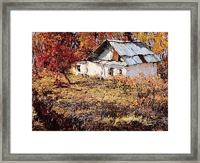 Sketch Of A Maple Tree And A Peasant House Framed Print by Jake Hartz